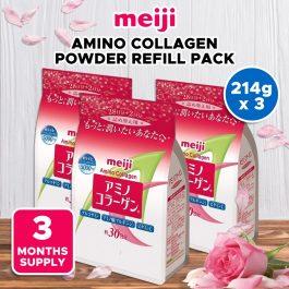 Meiji Best-seller Amino Collagen Powder Regular Refill Pack 214g x 3 [3 Mnths Supply]